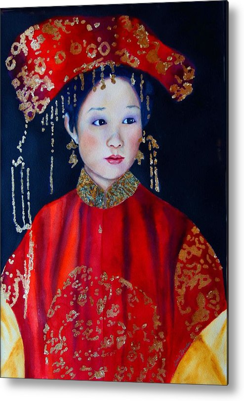 Asian Woman Metal Print featuring the painting Celebration In Red by Gail Zavala