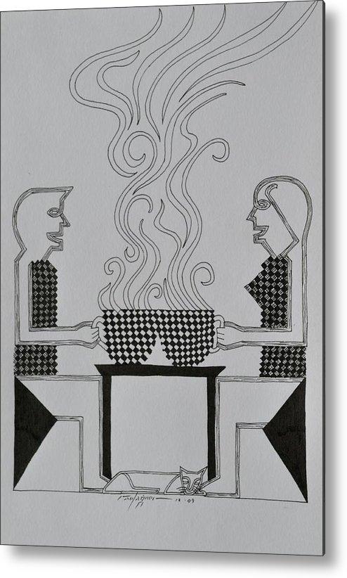 Coffee Metal Print featuring the drawing Coffee Break by Raul Agner