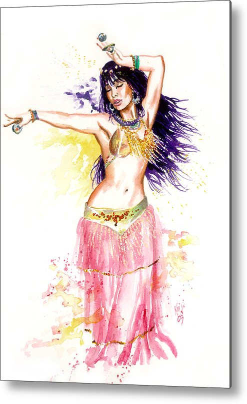 Women Metal Print featuring the painting Dancing Girl by Ken Meyer