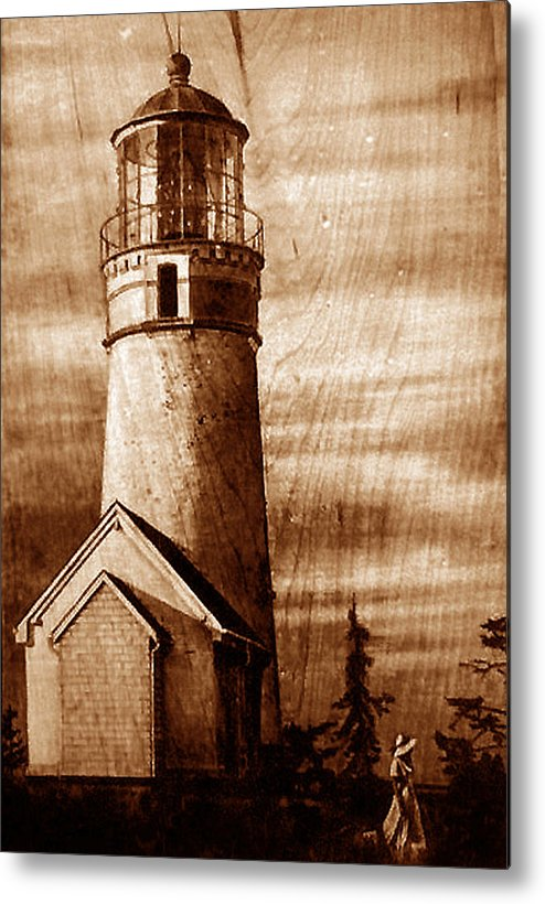 Dino Muradian Metal Print featuring the pyrography Evening Walk At Cape Blanco by Dino Muradian
