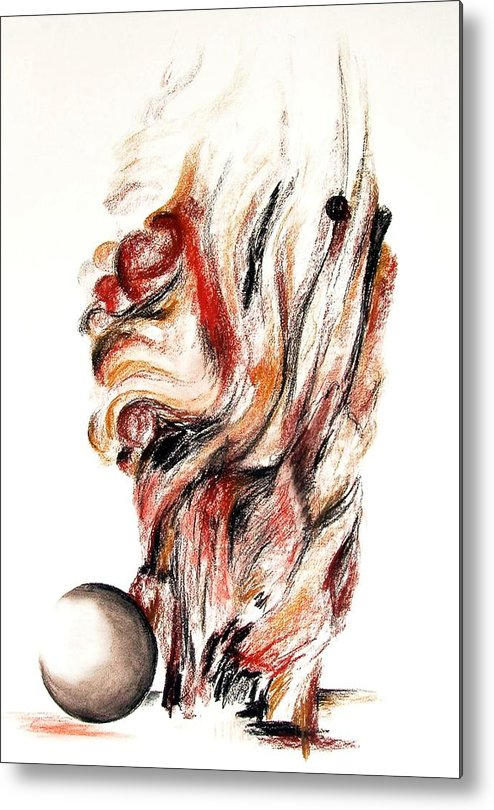 Still Life Metal Print featuring the drawing Flamme En Bois by Muriel Dolemieux
