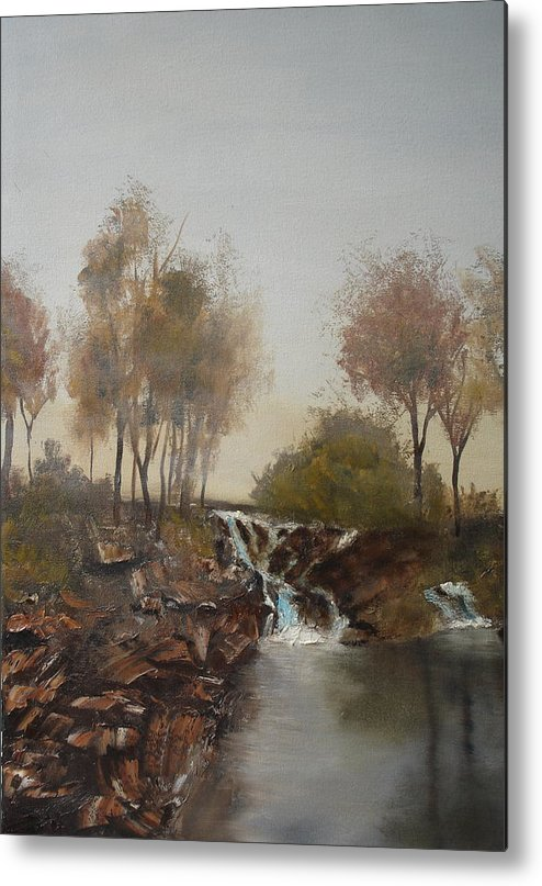 Landscape Metal Print featuring the painting Foggy Creek by James Eugene Moore