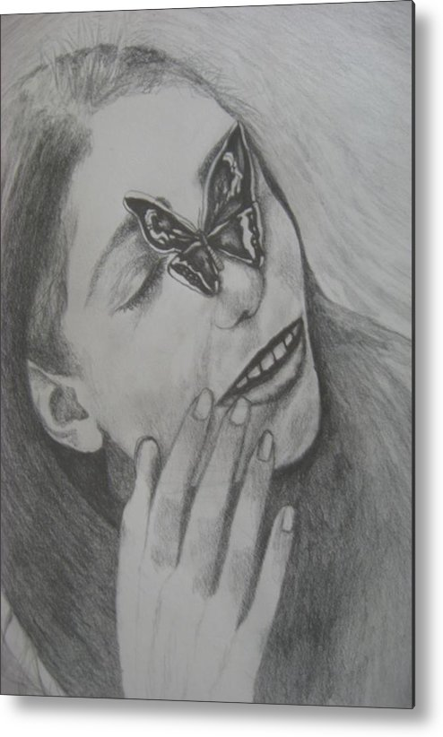 Girl Metal Print featuring the drawing Girl With Butterfly  by Theodora Dimitrijevic