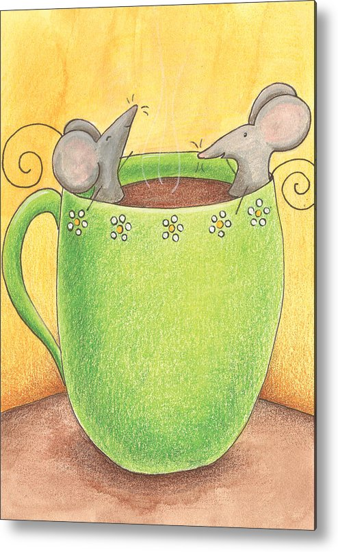 Mice Metal Print featuring the painting Join Me In A Cup Of Coffee by Christy Beckwith
