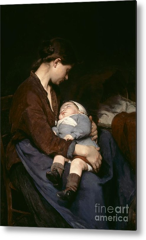 Mother And Child Metal Print featuring the painting La Mere by Elizabeth Nourse