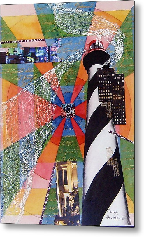 Watercolor Metal Print featuring the painting Lighthouse by Terry Honstead