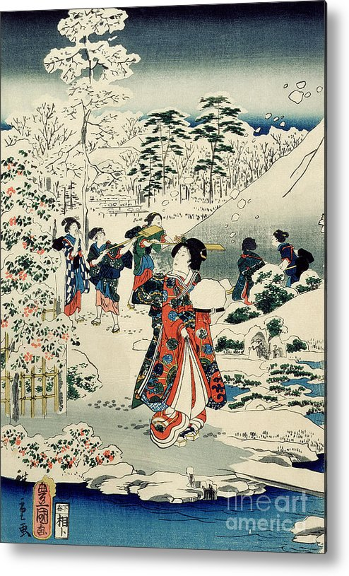 Maids In A Snow-covered Garden Metal Print featuring the painting Maids In A Snow Covered Garden by Hiroshige