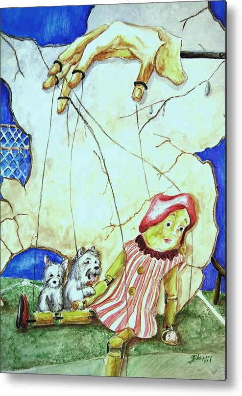 Puppet Metal Print featuring the painting Manipulated by Melissa Wiater Chaney