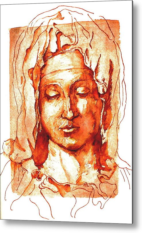 Portrait Metal Print featuring the painting Mary by Dan Earle