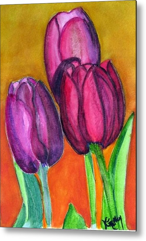 Tullips Metal Print featuring the painting Morning Surprise by Karla Mathey