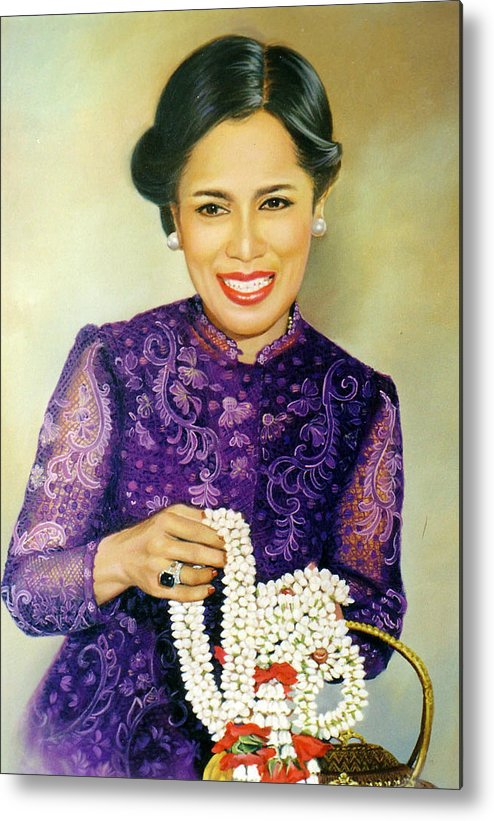 Oil Metal Print featuring the painting Queen Sirikit2 by Chonkhet Phanwichien