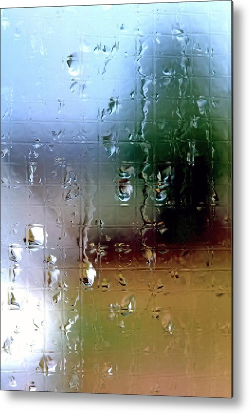 Rain Metal Print featuring the photograph Rainy Window Abstract by Steve Ohlsen