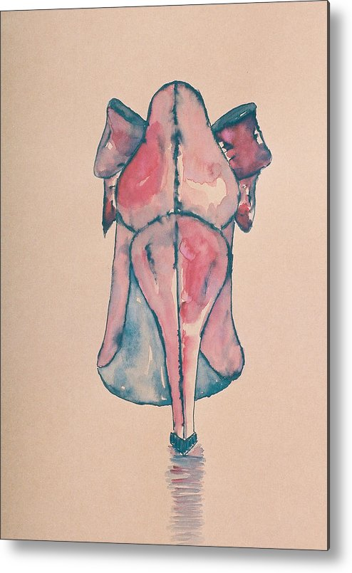 Drawing Metal Print featuring the drawing Red Shoe by Oudi Arroni
