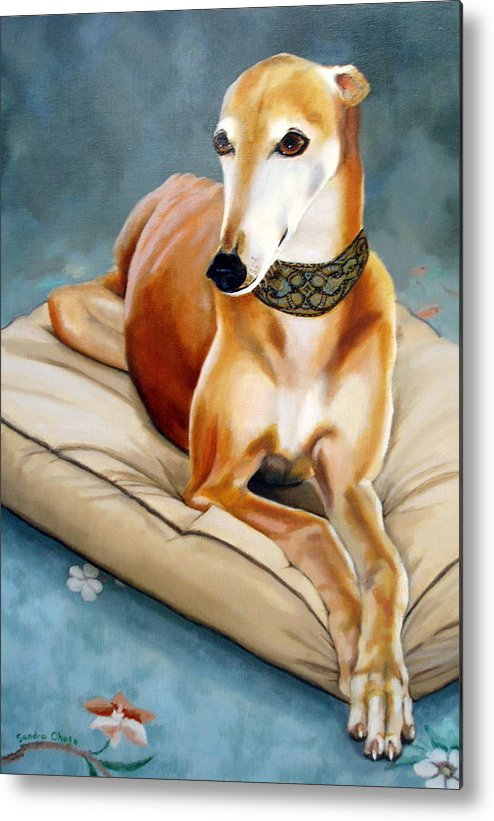 Greyhound Metal Print featuring the painting Rescued Greyhound by Sandra Chase