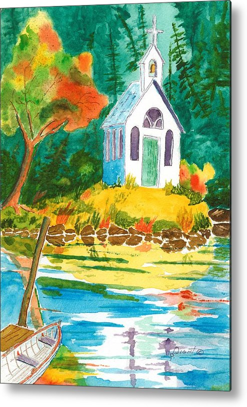 Chapel Metal Print featuring the painting Roche Harbor Chapel by Buster Dight