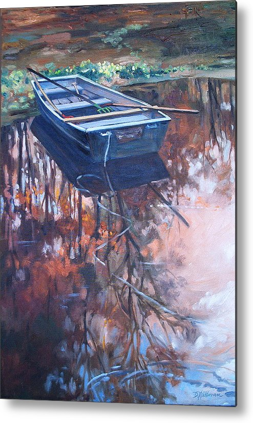 Water Metal Print featuring the painting Rowboat Ashore by Dianna Willman