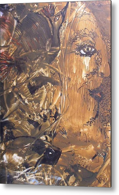 Abstract Encaustic Metal Print featuring the painting Shamanic Dream by Heather Hennick