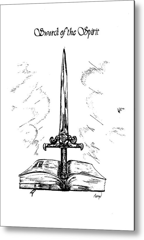 Sword Metal Print featuring the drawing Sword Of The Spirit by Maryn Crawford