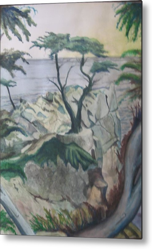 Seascape Metal Print featuring the painting The Lone Cypress by Matthew Handy