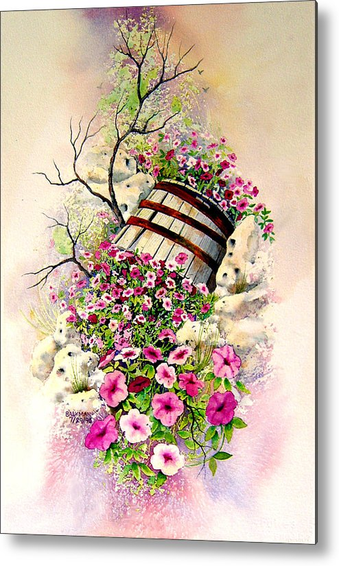 Floral Metal Print featuring the painting Tipsy Whiskey Barrel by Brooke Lyman