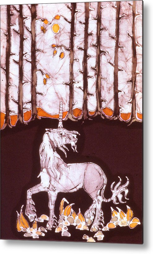 Unicorn Metal Print featuring the tapestry - textile Unicorn Below Trees In Autumn by Carol Law Conklin