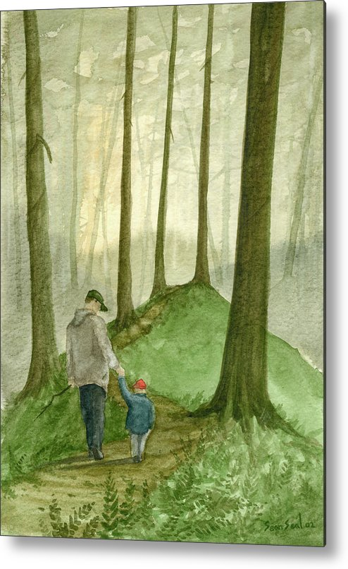 Father Metal Print featuring the painting Walk In The Woods by Sean Seal