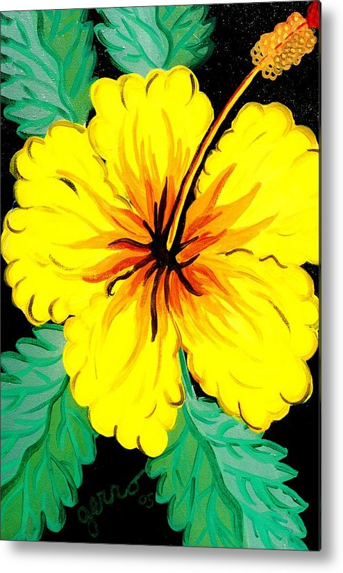 Hibiscus Artwork Metal Print featuring the painting Yellow Hibiscus by Helen Gerro