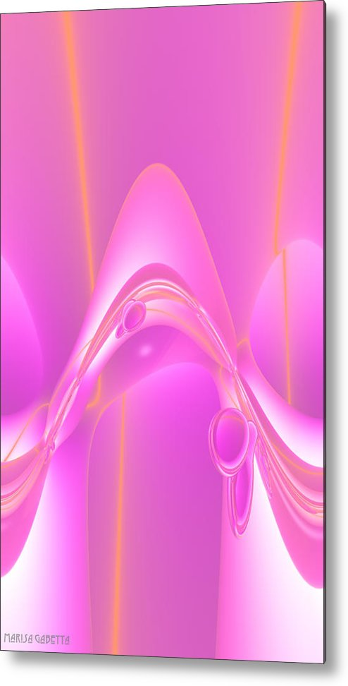 Abstract Metal Print featuring the digital art Pink Cells 2 by Marisa Gabetta