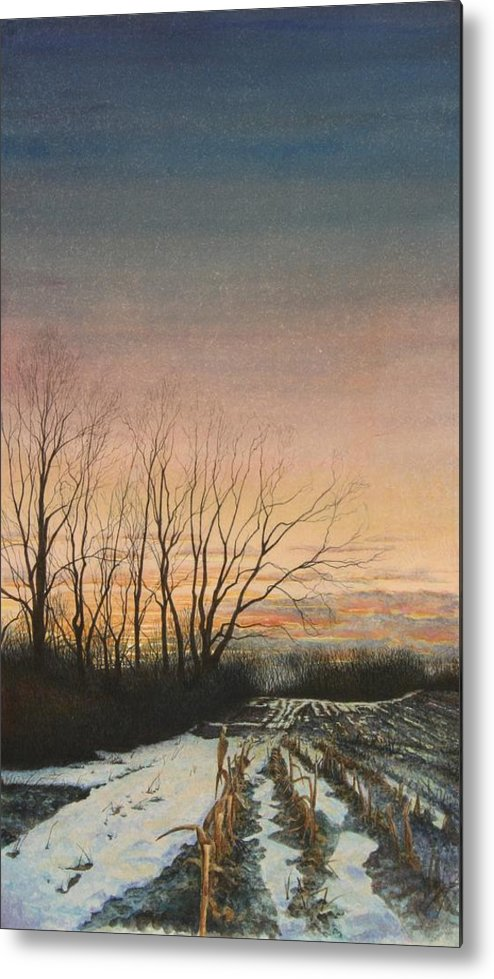 Landscape Metal Print featuring the painting Winter Field by Stephen Bluto