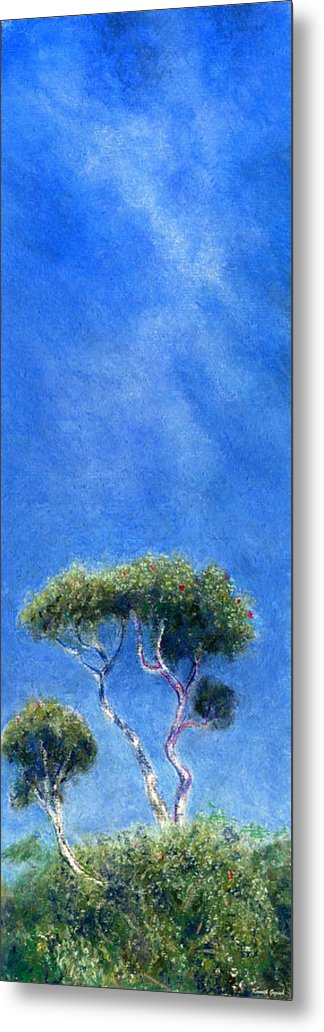 Rainbow Colors Pastel Metal Print featuring the painting Kokee Trees by Kenneth Grzesik