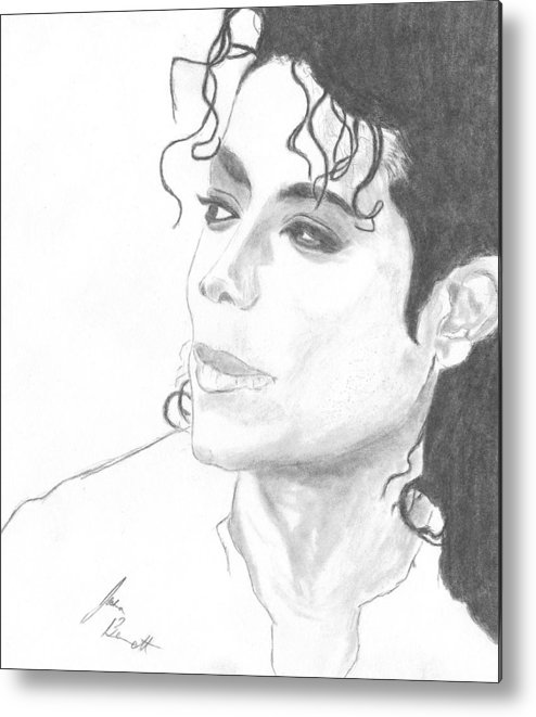 Michael Jackson Metal Print featuring the drawing Remembering Michael by Josh Bennett
