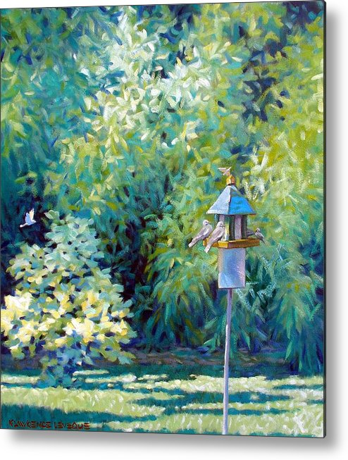 Birds Metal Print featuring the painting The Bird Feeder by Kevin Lawrence Leveque