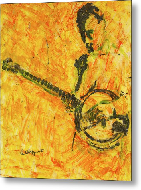 Lacquer Metal Print featuring the painting Banjo Player by Richard Wynne
