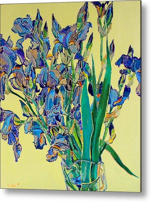 Irises Metal Print featuring the painting Blue Irises by Vitali Komarov