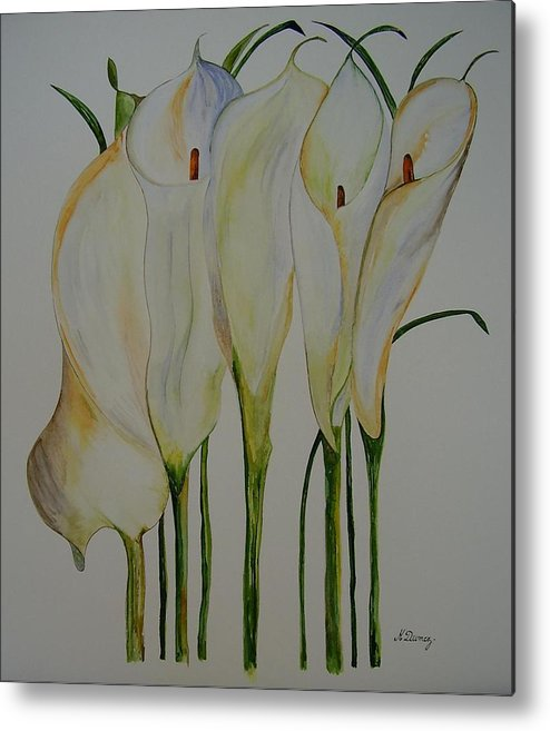 Flowers Metal Print featuring the painting Callas by Murielle Hebert