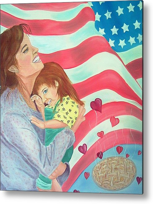 Flag Metal Print featuring the painting Family Country And Apple Pie by Kathern Welsh