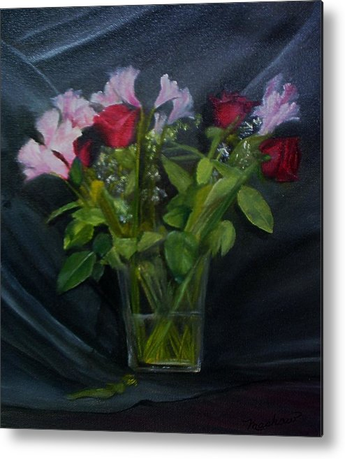 Flowers Metal Print featuring the painting Flowers For Sarah by Sheila Mashaw
