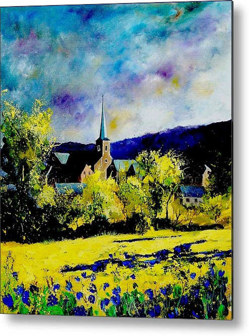 Poppies Metal Print featuring the painting Hour Village Belgium by Pol Ledent