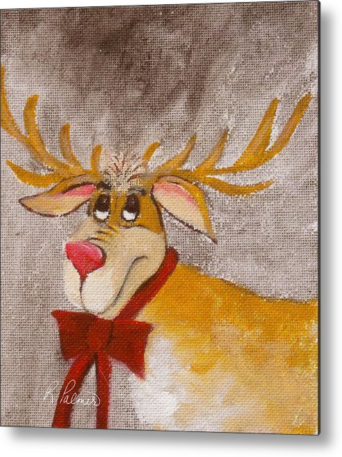 Animals Metal Print featuring the painting Mr Reindeer by Ruth Palmer