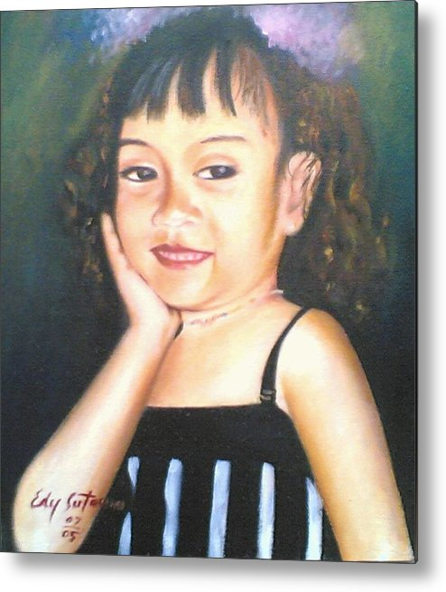 People Metal Print featuring the painting My Little Daughter by Edy Sutowo