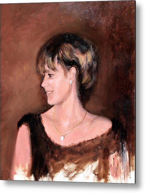Portrait Metal Print featuring the painting Sara by Mario Zampedroni