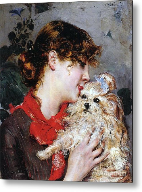 The Actress Rejane And Her Dog Metal Print featuring the painting The Actress Rejane And Her Dog by Giovanni Boldini