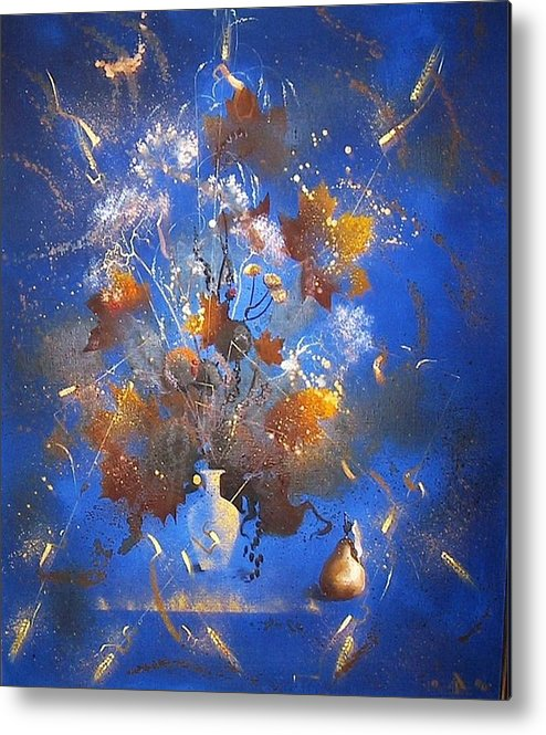 Still Life Metal Print featuring the painting The Blue Bouquet by Andrej Vystropov