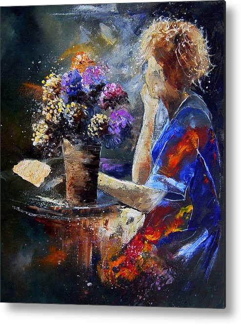 Girl Nude Metal Print featuring the painting The Letter by Pol Ledent