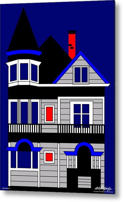 San Francisco Metal Print featuring the digital art 1080 Haight Street by Asbjorn Lonvig