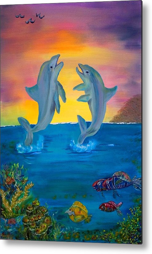 Original Metal Print featuring the painting Fantasy Dolphins by Mikki Alhart