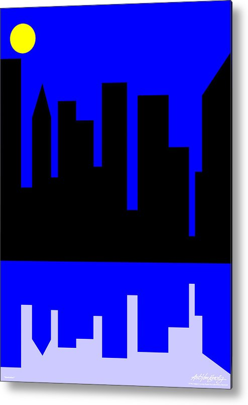 Manhattan Metal Print featuring the digital art Manhattan by Asbjorn Lonvig