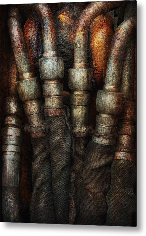 Hdr Metal Print featuring the photograph Steampunk - Pipes by Mike Savad
