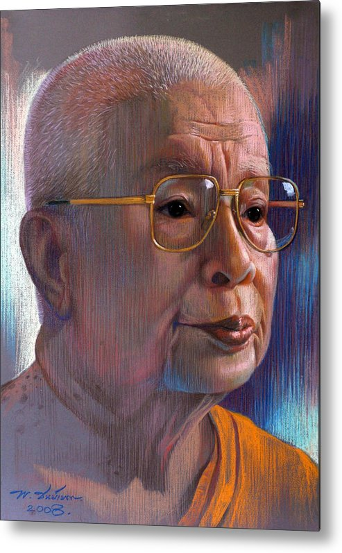 Pastel Metal Print featuring the painting Untitled by Chonkhet Phanwichien