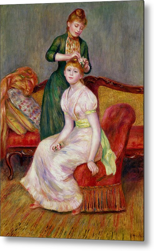 Coiffure Metal Print featuring the painting La Coiffure by Renoir